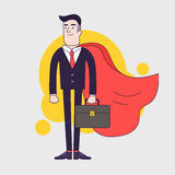Young serious businessman superhero with leather briefcase and red cloak. Businessman with leadership skills. Royalty Free Stock Image