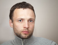 Young serious Caucasian Man. Close up portrait Stock Photo