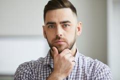 Young serious man stock photo