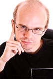 Young serious man with glasses Royalty Free Stock Images