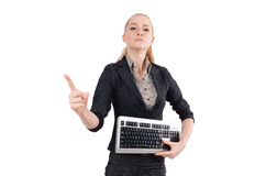 Young serious office girl pointing Royalty Free Stock Photography