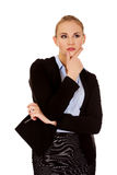 Young serious thoughtful business woman Royalty Free Stock Photos