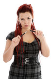 Young serious woman with pen Stock Image