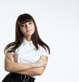 Young serious woman seriously look at you Royalty Free Stock Image