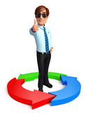Young Service Man with circle graph Royalty Free Stock Photography