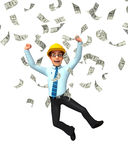 Young Service Man with dollar sign Royalty Free Stock Photo