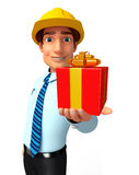Young Service Man with gift box Stock Photos