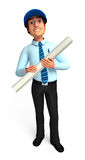 Young Service man  with papers Royalty Free Stock Photo