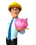 Young Service Man with piggy bank Stock Image