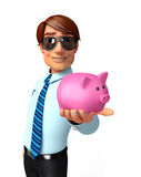 Young Service Man with piggy bank Stock Photography