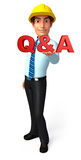 Young Service Man with Q & A Stock Photos