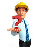 Young Service Man with question mark Royalty Free Stock Images