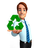 Young Service Man with recycle icon Royalty Free Stock Photography