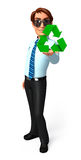 Young Service Man with recycle sign Stock Photos