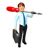 Young Service Man with screw Driver Stock Photography