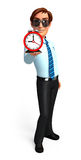 Young Service Man with table clock Royalty Free Stock Image