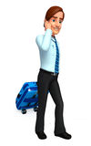Young service man  with traveling bag Royalty Free Stock Photos