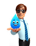 Young Service Man with water drop Royalty Free Stock Image