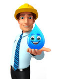 Young Service Man with water drop Stock Photography