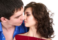Young sexual couple kissing Stock Photo