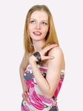 Young sexual woman in summer dress Stock Photo