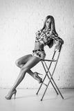 Young beautiful blonde woman posing on chair Royalty Free Stock Photos