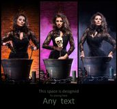 Different photos of young and beautiful witch making witchcraft. Young, sexy and beautiful witch making witchcraft in dungeon. Set collection. Halloween concept Royalty Free Stock Image