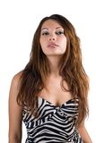 Young sexy beauty woman. In a striped dress. Isolated Stock Images