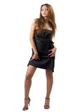 Young sexy beauty woman in a black dress. Isolated Stock Photography