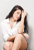 Young sexy black hair woman Royalty Free Stock Image