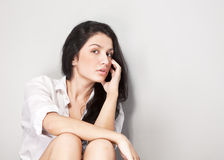 Young black hair woman Royalty Free Stock Photography