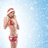 A young and sexy blond in Christmas lingerie Stock Photo