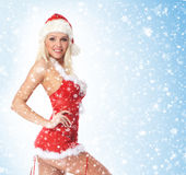 A young and sexy blond in Christmas lingerie Stock Image