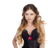 Young and sexy blond girl in black corset lingerie bright makeup Royalty Free Stock Photography