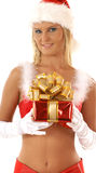A young and sexy blond girl is holding a present Royalty Free Stock Image