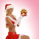 A young and sexy blond girl is holding a present Stock Images