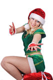 Young sexy blond girl  wearing santa claus clothes Stock Photo