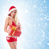 A young and sexy blond holding a present Stock Photos