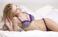 Young sexy blond in sexy lingerie Stock Image