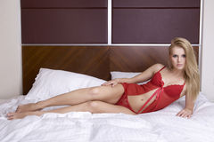 Young sexy blond in sexy lingerie Royalty Free Stock Image