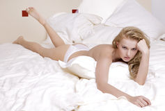Young sexy blond in sexy lingerie Stock Photography