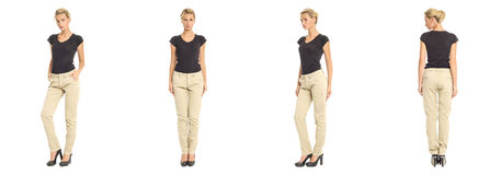 Young sexy blond woman in beige trousers isolated Stock Photography