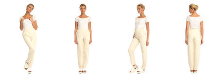 Young sexy blond woman in beige trousers isolated. Young sexy blond woman in beige trousers Stock Photo