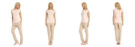 Young sexy blond woman in beige trousers isolated. Young sexy blond woman in beige trousers Royalty Free Stock Image