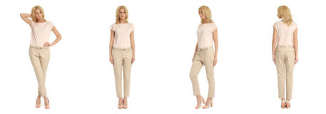 Young sexy blond woman in beige trousers isolated. Young sexy blond woman in beige trousers Stock Images