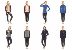 Young sexy blond woman in black jeans concept Royalty Free Stock Photography
