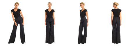 Young blond woman in black trousers. Isolated stock photos