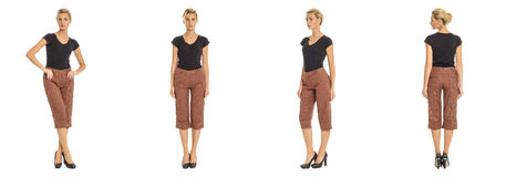 Young sexy blond woman in brown shorts isolated Royalty Free Stock Photo