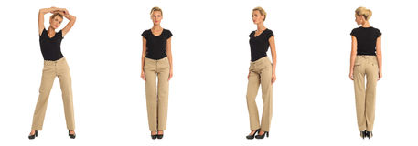 Young sexy blond woman in brown trousers isolated. Young sexy blond woman in brown trousers Stock Images