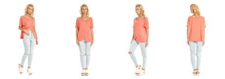 Young sexy blond woman in coral shirt isolated. Young sexy blond woman in coral shirt Royalty Free Stock Photography